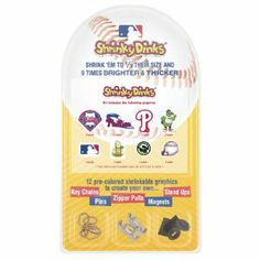 MLB Philadelphia Phillies Shrinky Dinks by Pangea Brands. $12.27. Includes Key Chains, Pins, Zipper Pulls, Magnets, and Stand Ups. Made in the USA. Included 12 Pre-Colored Shrinkable Graphics. Adult Supervision Required During Baking. The Shrinky Dinks Kit by Pangea Brands contains 12 pre-colored shrinkable graphics to create your own key chains, pins, zipper pulls, magnets, and stand ups in just 4 easy steps! Shrinky Dinks are made of an amazing plastic that shrinks to 1/3 its ...