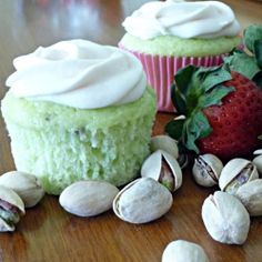 Pistachio Cupcakes with Strawberry Cream Cheese Frosting are very interesting combination of nuts and berries. Pistachio flavored cupcakes, with their beautiful Pistachio Cupcakes, Strawberry Cupcakes, Yummy Cupcakes, Cupcake Cookies, Green Cupcakes, Mocha Cupcakes, Gourmet Cupcakes, Velvet Cupcakes, Easter Cupcakes