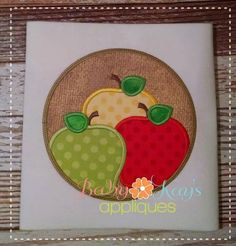 Baby Kay's Appliques - Apples in Circle Frame 4x4, 5x7, 6x10, 8x8, $4.00 (http://www.babykaysappliques.com/apples-in-circle-frame-4x4-5x7-6x10-8x8/)