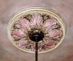 Lazenby's ceiling medallion Ceiling Murals, Ceiling Tiles, Ceiling Design, Wall Paint Patterns, Painting Patterns, Parlor Room, Headboard With Lights, Wood Carving Designs, Ceiling Treatments