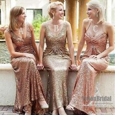 Sexy Shinny Mismatched Pleating Sequin Long Bridesmaid Dress, Wedding Party Dresses, VB0650