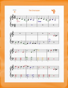 The Entertainer for easy piano. Now in the color orange!