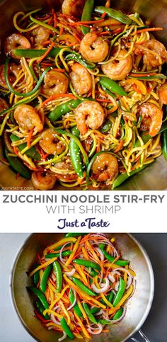 Zucchini Noodle Stir-Fry with Shrimp is a quick and healthy dinner recipe starring veggies and garlicky shrimp tossed in a DIY stir-fry sauce. Best of all, leftovers make for a great lunch or dinner and can be reheated like a breeze. justataste.com #stirfryrecipes #stirfrysauce #zucchinirecipes #healthydinner #justatasterecipes Bhg Recipes, Light Recipes, Whole Food Recipes, Zucchini Noodle Recipes, Zucchini Noodles, Homemade Stir Fry, Food Tasting, Shrimp Recipes, Us Foods