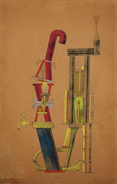 )Little Machine Constructed by Minimax Dadamax in Person (Von minimax dadamax selbst konstruiertes maschinchen) by Max Ernst. Mixed media, 1919-20.