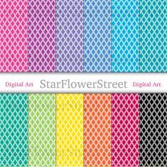 Diamond Digital Paper geometric jewel trellis harlequin printable scrapbook paper digital background pink blue black X by StarFlowerStreetDA