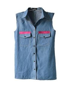 Point Collar Denim Tank with Pink Panel Detail