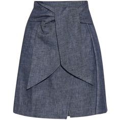 MSGM Self-tie waist denim skirt ($184) ❤ liked on Polyvore featuring skirts, bottoms, indigo, high rise skirts, tie waist skirt, high-waisted skirts, patterned skirt and denim skirt
