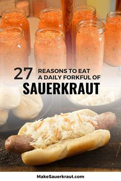 Sauerkraut is more than just a hotdog sandwich topping! MakeSauerkraut.com lists 27 benefits of a daily forkful of raw fermented sauerkraut, some you know and some you never heard of! This mouthwatering food boosts the immune system, aids in digestion for gut health, and keeps the brain healthy. It contains natural probiotics for kids and adults alike. Find out why a jar of sauerkraut (and kimchi) is a must-have in your healthy diet. #sauerkrauthealthbenefits #fermentedfoods Making Sauerkraut, Fermented Sauerkraut, Fermented Cabbage, Fermented Foods, Probiotics For Kids, Hotdog Sandwich, Recipes For Beginners, Gut Health, Kimchi