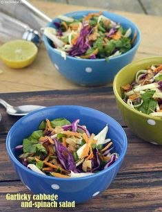 Calories for Garlic Cabbage and Spinach Salad, is it healthy? Salad Recipes Low Carb, Spinach Salad Recipes, Salad Recipes Video, Salad Recipes For Dinner, Low Carb Dinner Recipes, Healthy Recipes, Healthy Crunchy Snacks, Healthy Fruits, Tasty Snacks