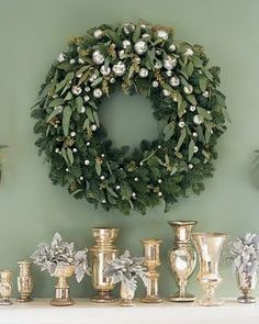 eucalyptis leaves in wreath. I bet this smells nice and wintery!