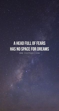 A head full of fears has no space for dreams. Head over to www.V3Apparel.com/MadeToMotivate to download this wallpaper and many more for motivation on the go! / Fitness Motivation / Workout Quotes / Gym Inspiration / Motivational Quotes / Motivation #FitnessInspirationQuotes