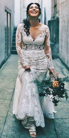 12 Dreamy Plus Size Wedding Dresses With Sleeves ❤ plus size wedding dresses with sleeves sheath full lace illusion neckline justin alexander Backless Wedding Dresses To Make You Charming On Wedding Day Plus Size Wedding Dresses With Sleeves, Plus Size Wedding Gowns, Country Wedding Dresses, Gowns With Sleeves, Best Wedding Dresses, Boho Wedding Dress, Bridal Dresses, Bridesmaid Dresses, Wedding Bride