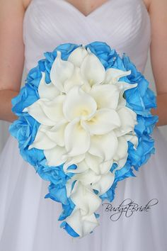 This stunning brides bouquet is designed in a cascading bouquet. The flowers are arranged with white calla lilies in the center and surrounded with Malibu roses. This bouquet is approx 12 inches wide and approx 15 inches long Wedding Bride, Wedding Events, Dream Wedding, Wedding Day, Gold Wedding, Perfect Wedding, Wedding Stuff, Wedding Dress, Weddings