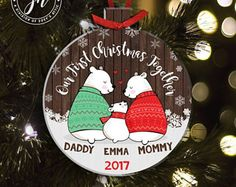 First Christmas daddy mommy baby bear holiday ornament - sweet family Christmas keepsake gift MPRO-004
