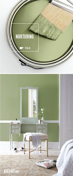 Your bedroom should be a calming spot where you can relax and unwind. Let the BEHR Paint Color of the Month, Nurturing, help you create the home of your dreams. This peaceful shade of green pairs well with white trim and neutral accent colors. Use antique furniture, like this vintage makeup vanity, to add a traditional style to your interior design scheme.