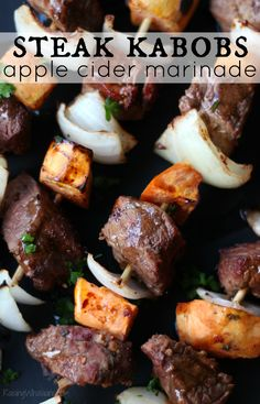 Fall Steak Kabobs with Apple Cider Marinade | Delicious fall grilling recipe featuring steak, sweet potatoes & easy apple cider marinade #ProteinChallenge