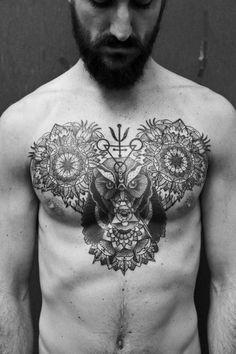 Mandala tattoo, owl tattoo, chest, geometric