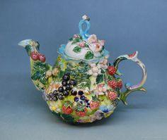 """Sweet summer"" porcelain tea pot – shop online on Livemaster with shipping"