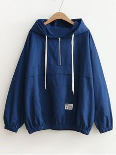 Patched Pocket Half Zip Hoodie - BLUE ONE SIZE