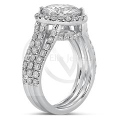 Round Cut Triple Shank Diamond Engagement Ring With Halo R172