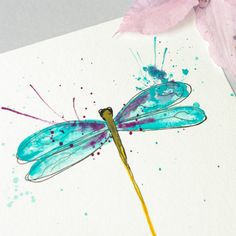 Dragonfly Art Original Watercolor Painting Blue and Purple Small Artwork Collection Simplicity by Violet