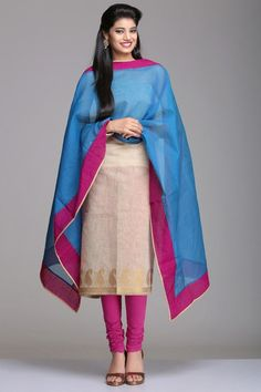 Festive - Party Wear Unstitched Suits   Unstitched Chanderi Suit With Gold Zari Paisleys Woven On The Beige Kurta And Blue & Pink Dupatta   IndiaInMyBag.com