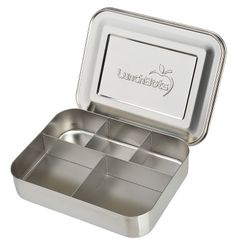 LunchBots Cinco Bento Box Stainless Steel Food and Lunch Container - 60% larger for adult lunches