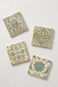 Botticino Marble Coasters - anthropologie.com