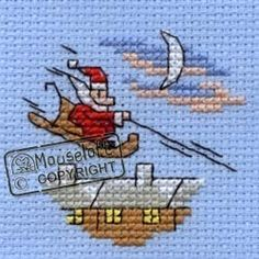 Stitchlets Christmas Card Cross Stitch Kit - Santa's Sleigh