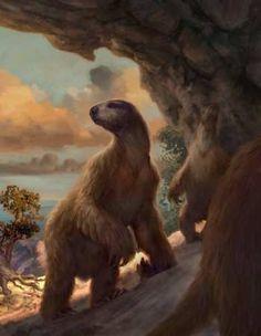 Ground Sloths in Colorado Cave by Philip Newsom Prehistoric Wildlife, Prehistoric World, Prehistoric Creatures, Dinosaur Era, Extinct Animals, Fauna, Fossils, Mammals, Beast