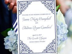 "Fold Over Wedding Program Template Download ""Madison"" Navy Program Order of Service Half Fold Program Printable by PaintTheDayDesigns on Etsy"