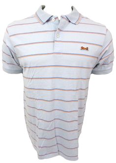 Le Tigre Polo Shirt Mens Size L Large Blue Striped Short Sleeve  #LeTigre #PoloRugby