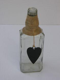 CREATIVE GLASS BOTTLE JAR WITH ROPE CHALKBOARD HEART NAUTICAL DECOR Glass Bottles, Perfume Bottles, Handicraft, Chalkboard, Nautical, Jar, Creative, Decor, Craft