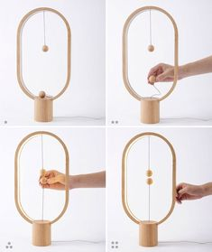 Stylish Wooden Lamp with Levitating Switch #WoodenLamp