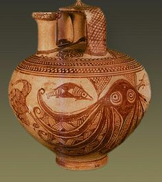 Minoan Art Pottery - Mycenaean fish and octopus pitcher Henri Rousseau, Henri Matisse, Greek History, Ancient History, European History, Ancient Aliens, American History, Greek Pottery, Pottery Art