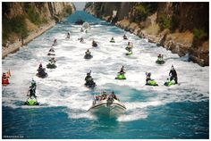 JET SKI WORLD CHAMPIONSHIP in Loutraki, Peloponnese.  Wonderful picture of Jet Skis passing through the magnificent Corinth Isthmus!