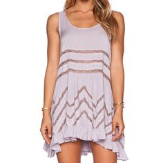 Free People Trapeze Slip (Lavender) Voile and lace trapeze slip from free people in lavender. Mint condition worn a few times with no visible signs of wear. Free People Dresses Mini