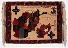 118x85 cm afghan Orientteppich Karte oriental silk rug map of Afghanistan -Hakim