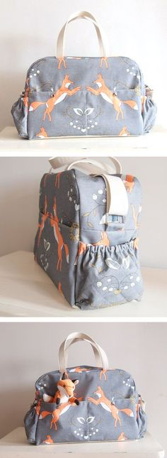 Fox Big Diaper Nappy bag / eco canvas and faux leather / Playful Foxes /big versatile and practical bag/ baby bag/ weekender/ changing bag