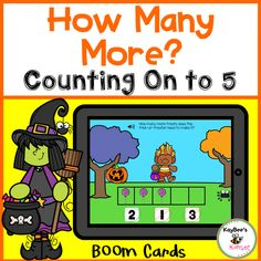 How Many More to Make 5 Boom Cards Addition Activities, Counting Activities, Math Skills, Life Skills, Halloween Themes, Halloween Fun, Early Math, Figurative Language, Letter Recognition