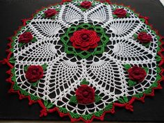Handmade Crochet Cotton Doily With Roses and Pineapples Crochet Stitches Free, Thread Crochet, Crochet Motif, Crochet Doilies, Crochet Flowers, Hand Crochet, Crochet Cushion Cover, Crochet Cushions, Crochet Tablecloth