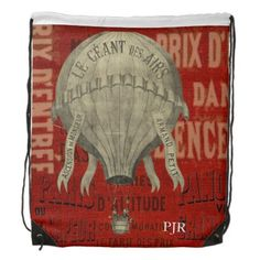 Steampunk Hot Air Ballon Ride Graphic Fonts Drawstring Backpack - party gifts gift ideas diy customize