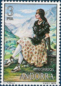 1979 Andorra-Mujer con Traje Típico