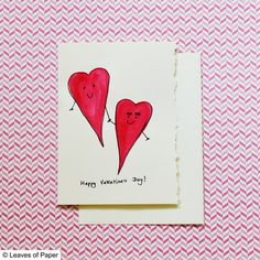 Funny Valentine's Day Card: Watercolor Hearts by LeavesOfPaper