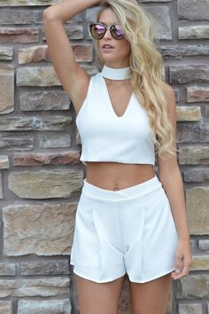 Imagine Ivory 2 Piece Set  | Foi Clothing | Crop Top and Bottom Set | White Set | Unique Bridal Wear | Mock Neck Top | Buy Now on Foiclothing.com | Spring and Summer Fashion | Women's Boutique | Staff Favorite | You NEED This |