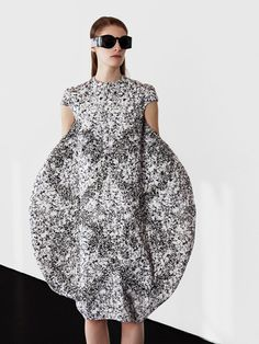 Sculptural Fashion - dress with bold circular silhouette and textural print - 3D fashion; soft geometrics; wearable art // Satu Maaranen