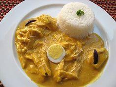 Aji de Gallina, an amazing peruvian dish. For vegetarian use potatoes instead of chicken!