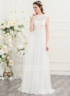 A-Line/Princess Scoop Neck Sweep Train Bow(s) Covered Button Cap Straps Sleeveless Hall General Plus No Spring Summer Fall Other Colors Chiffon Height:5.7ft Bust:33in Waist:24in Hips:34in US 2 / UK 6 / EU 32 Wedding Dress