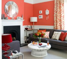 Coral, white & gray living room