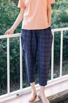 Loose Blue Plaid Linen Harem Pants Casual Trousers For Women K9417 Linen Trousers, Trouser Pants, Harem Pants, Japan Fashion, Blue Fashion, Best Work Pants, Pants For Women, Clothes For Women, Type Of Pants